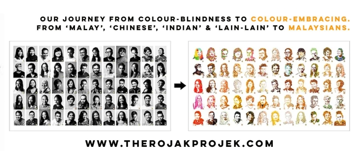 The Rojak Projek's concept (from colour-blindness to colour-embracing)