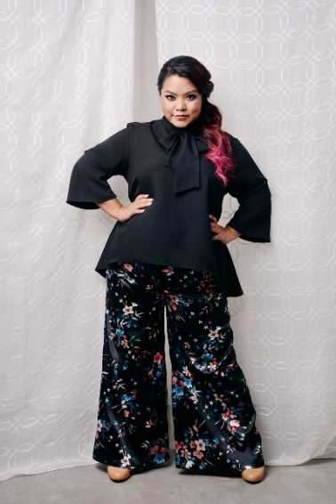 ¾ SLEEVE KURUNG TOP IN BLACK with PALAZZO LONG PANTS IN BLACK (1)